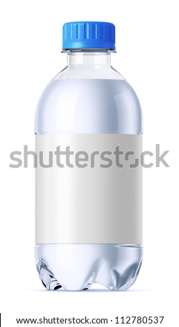 Small plastic bottle 0.33l full of water with clean white label for design presentation. Isolated on white. - stock photo