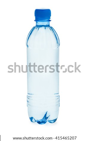 Small plastic bottle  with water isolated on white background - stock photo