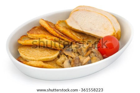 Small plate of inflight meal, potato pancakes, mushrooms, sliced meat and tomato on a white background - stock photo