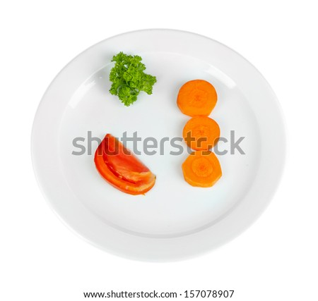 Small portion of food on big plate isolated on white - stock photo