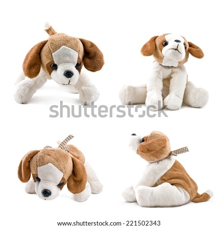 small pretty dog toy isolated on white - stock photo