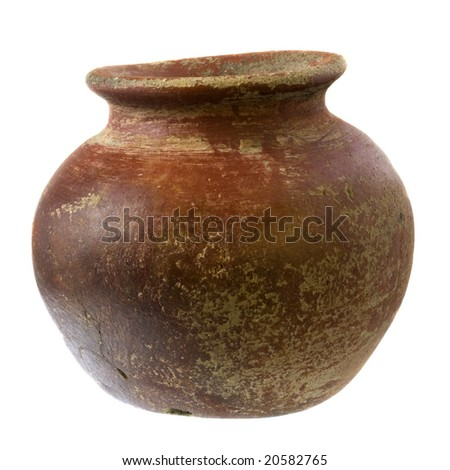 small red and brown clay plant pot (mass produced planter) with rough, grunge finish, isolated on white - stock photo
