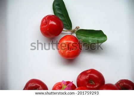 Small red fruit . Brazilian Acerola Fruit . small cherry  - stock photo