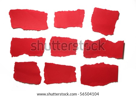 small red paper pieces isolated - stock photo