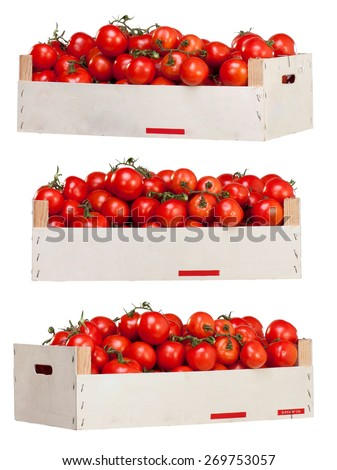Small Red Tomatoes in a Wooden Box isolated on White Background.  - stock photo