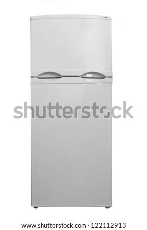 Small refrigerator on white background - stock photo