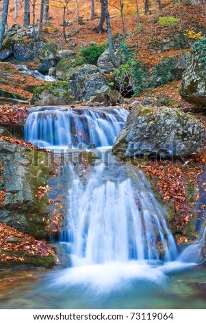 small river in a spring canyon - stock photo