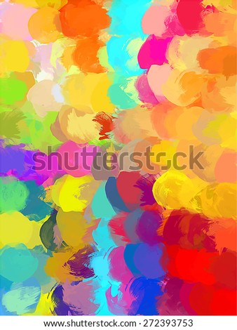 Small round colorful brush strokes background. Raster version - stock photo