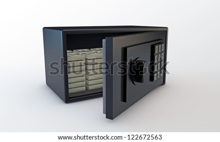 small safe open with dollars inside - stock photo