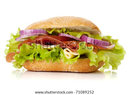 Small sandwich with ham, cheese, tomatoes, red onion and lettuce. Isolated on white - stock photo