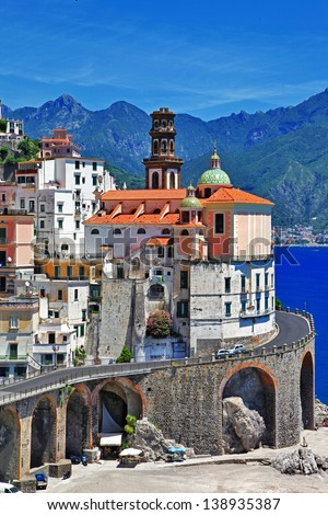 small scenic village Atrani - Amalfi coast of Italy - stock photo