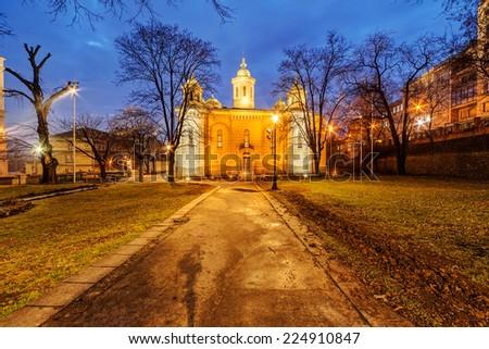 Small Serbian orthodox Church at night, Belgrade Serbia - stock photo