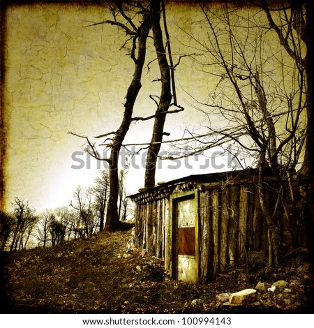 Small shelter in the forest - stock photo