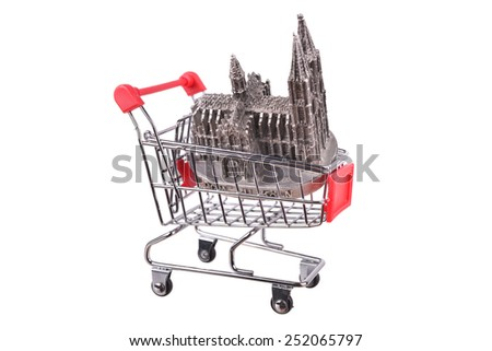 Small shopping cart isolated on white, grocery, consumer, purchase - stock photo