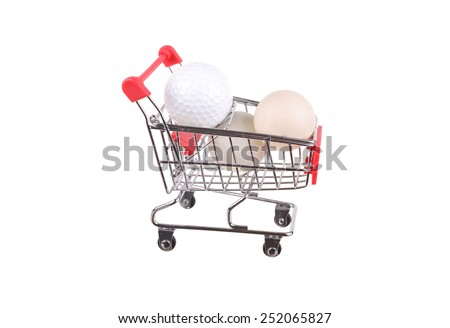 Small shopping cart isolated on white, handle, cutout, simple, wheel, add, still, fill, cut, grocery - stock photo