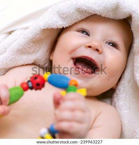 Small smiling baby - stock photo