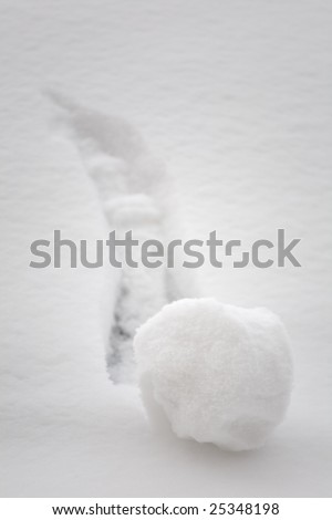 Small snowball going downhill a grow bigger. Big beginning of something - brainstorming concept - stock photo