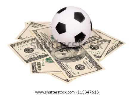 Small soccer ball on heap of dollars isolated on a white background - stock photo
