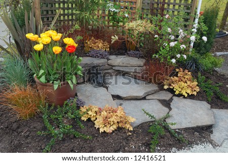Rock garden design Stock Photos Images Pictures