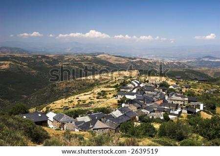 Small spanish village on the pilgrimage route of Camino de Santiago - stock photo