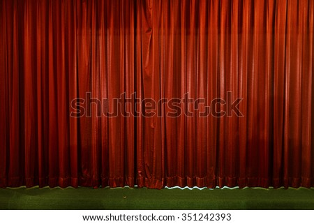 small stage , curtain or drapes red background - stock photo