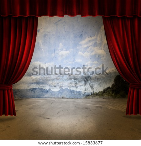 Small stage with red velvet theater curtains - stock photo