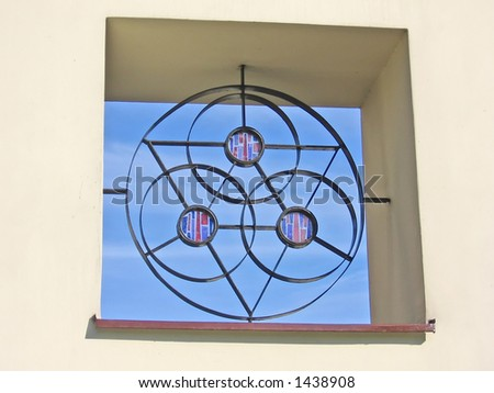 small stained glass window - stock photo