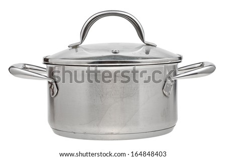 small stainless steel saucepan covered by glass lid isolated on white background - stock photo