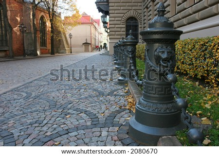 Small street in the historical center of city (Riga, Latvia, Europe) - stock photo