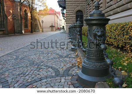 Small street in the historical center of city (Riga, Latvia, Europe) - stock photo