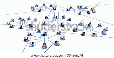 Small symbolic 3d figures behind office desks joined in a network - stock photo