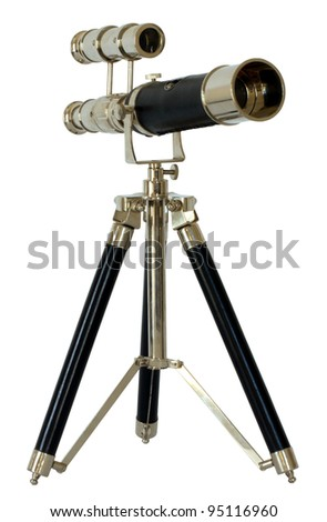 Small telescope on tripod isolated - stock photo