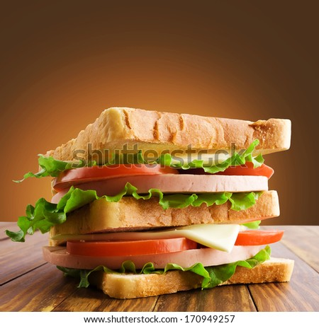 Small toast sandwich isolated on white - stock photo