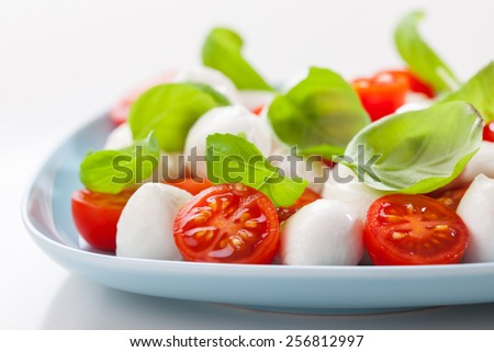 Small tomato salad with mozzarella and basil - stock photo