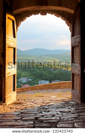 Small town Buzet in Croatia - stock photo