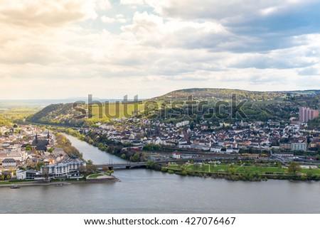 Small town by Rhine River in Wiesbaden, Hesse, in the Rheingau wine-growing region of Germany. - stock photo