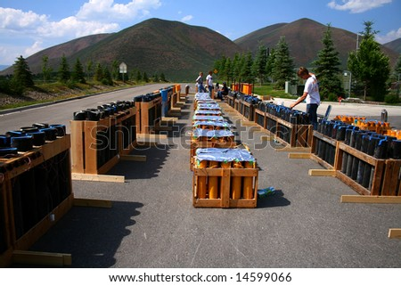 Small town firework display being prepared for 4th of July Celebration - stock photo