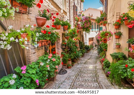 Small town in sunny day, Italy, Umbria - stock photo