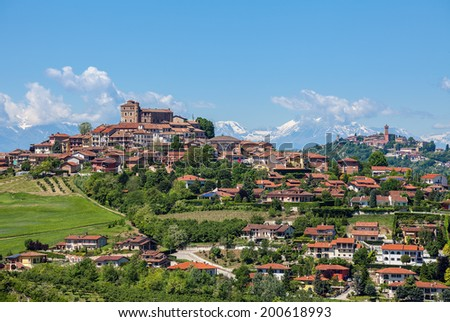 Small town of Roddi on green hills of Piedmont, Northern Italy. - stock photo