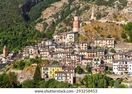 Small town of Tende in the mountains in France. - stock photo