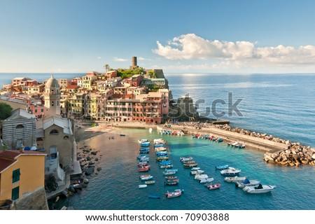 Small town Vernazza (Cinque Terre, Italy) - stock photo