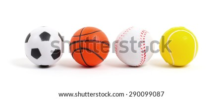Small toy balls isolated on white background - stock photo