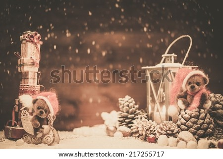 Small toy bears in christmas still life  - stock photo