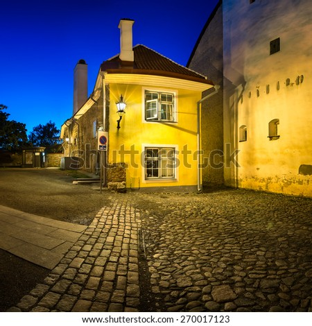 Small Traditional House in the Old Town of Tallinn, Estonia - stock photo