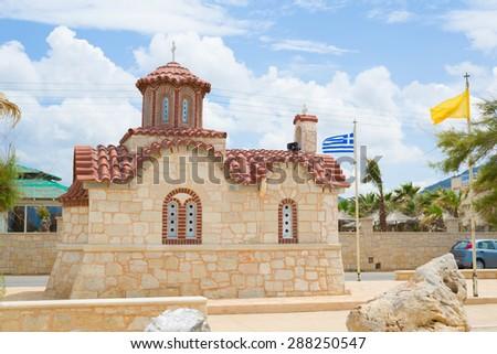 Small typical little church in greece, Analipsi, Crete - stock photo
