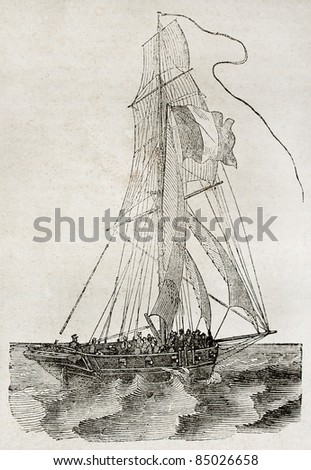 Small vessel sailing, side view. By unidentified author, published on Magasin Pittoresque, Paris, 1840 - stock photo