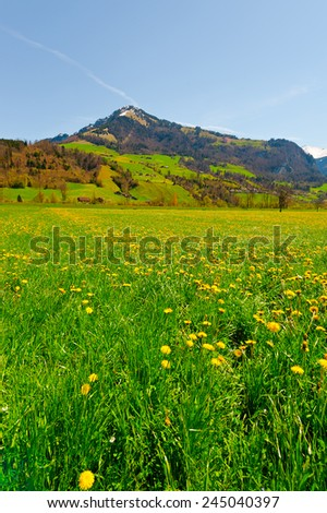 Small Village High Up in the Swiss Alps - stock photo
