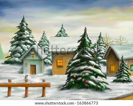 Small village in a snowy christmas landscape. Digital illustration. - stock photo