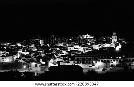 small village in the Alpujarra at night, Andalusia - stock photo