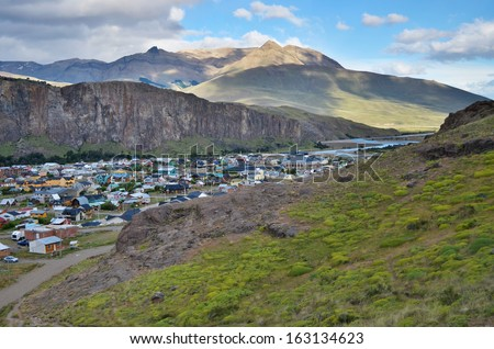 Small village in the mountain valley of El Chalten in Argentina - stock photo